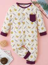 Baby Boy Autunno Stampa Button Up Pagliaccetti