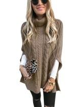 Jersey de invierno con cuello alto y manga corta con abertura