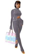 Осенний сексуальный нерегулярный укороченный топ с длинным рукавом и брюки