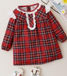 Осеннее платье трапеции с принтом в клетку для маленьких девочек
