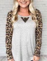 Camisa casual de cuello redondo con estampado de leopardo de otoño