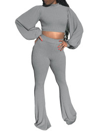 Autumn Casual Solid Puff Sleeve Crop Top and Pants Set