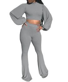 Herbst Casual Solid Puff Sleeve Crop Top und Hosen Set