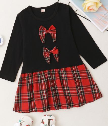 女の赤ちゃん秋のチェック柄プリントAラインドレス