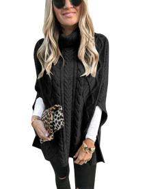 Winter Rollkragenpullover mit Schlitzärmeln und langem Pullover