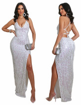 Occassional Sexy Backless Side Slit Halter Neck Sparkly Evening Dress
