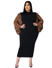 Plus Size Black Party Midi Dress with Leopard Pop Sleeves