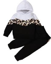 Traje deportivo con capucha de leopardo en contraste de otoño para niña para niños