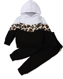 Kids Girl Autumn Contrast Leopard Hoody Sweat Suit