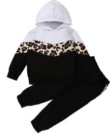 Kinder Mädchen Herbst Kontrast Leopard Hoody Trainingsanzug