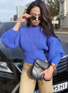 Winter Puff Sleeve O-Neck Pullover Kurzer Pullover