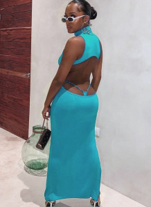 Summer Party Blue Sexy Cut Out Sleeveless Midi Dress