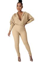 Winter Casual Solid Front Zip Hoody Jumpsuit