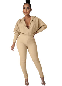 Winter Casual Solid Front Zipped Hoody Jumpsuit