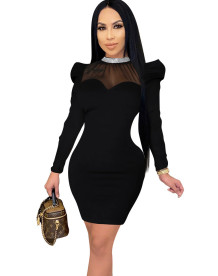 Autumn Party Schwarz Formale Pailletten Ausschnitt Bodycon Kleid