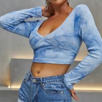 Crop top en tricot bleu tie-dye Autumn Party