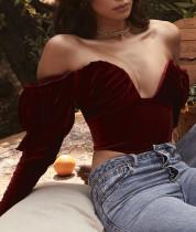 Crop top froncé vintage en velours rouge d'automne