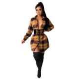 Herfst casual geruite print blousejurk met veters