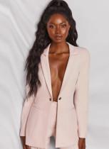 Blazer largo elegante rosa otoñal