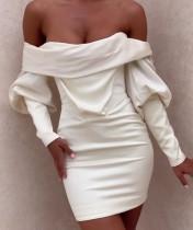 Mini vestido sin tirantes blanco de fiesta de otoño