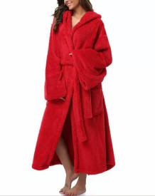 Winter Red Fleece Long Hoody Pijama