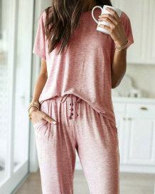 Conjunto de pijama de camisa y pantalón con cuello en O sólido de verano