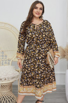 Plus Size Herbst Casual Floral Long Dress