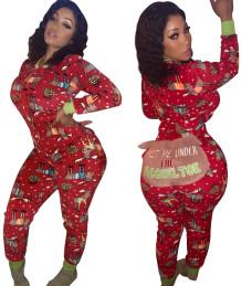 Pijama de mono con cremallera y estampado navideño de caderas que se pueden abrir