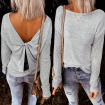 Herbst Sexy Grey Cross Back O-Neck Top