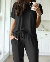 Summer Solid O-Neck Shirt and Pants Pajama Set
