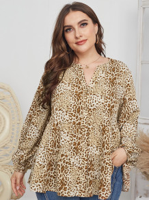 Plus Size Autumn Leopard Print Loose Blouse