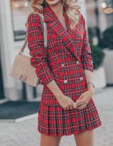 Abito blazer a pieghe scozzese elegante rosso autunno