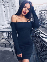 Herfst sexy effen strapless mini-jurk