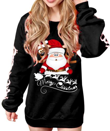 クリスマスプリントOネックロングスウェットシャツ