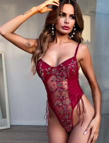 Sexy Lace-up riem Floral Teddy Lingerie