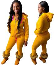 Winter Solid Hoody Trainingsanzug mit Reißverschluss