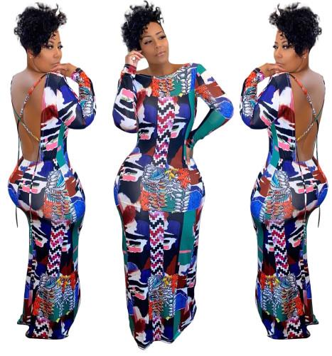 Herfst Sexy Open Back Print Afrika Avondjurk