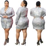 Plus Size Autumn Print Blazer Dress