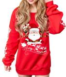 Camisa de suor longa estampa de Natal com decote em O