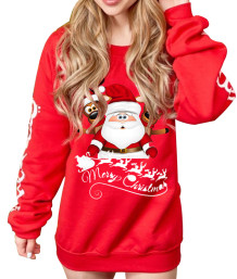 Weihnachtsdruck O-Neck Long Sweat Shirt