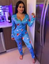 Weihnachtsdruck Button Up Onesie Pyjama