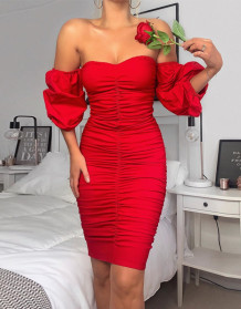 Summer Red Strapless Ruched Formal Midi Dress