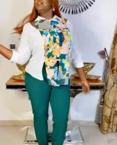Traje de pantalón y blusa de madre con estampado de África de otoño