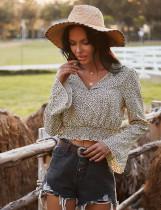 Herbstliche kurze Bluse mit V-Ausschnitt und Leopardenmuster und weiten Ärmeln