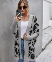 Winter Leopardenmuster Fledermausärmel Langer Pullover Mantel