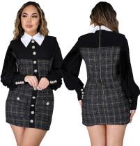 Mini abito con zip scozzese vintage invernale