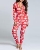 クリスマスセクシーな開閉可能なヒップカバーオールパジャマ