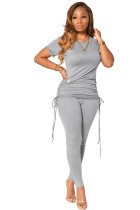 Sommer Casual Solid Ruched Strings Shirt und Tight Pants Set
