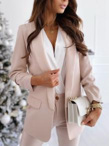 Autumn Solid Elegant Office Long Blazer