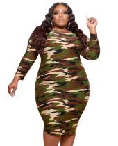 Plus Size Autumn Camou Party Bodycon Dress